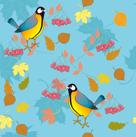 ashberry: Titmouse with ashberry Illustration