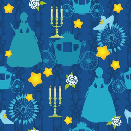 Blu silhouette della principessa su seamless