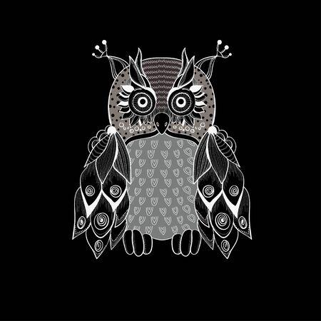 clip art icon: Fairy owl for decoration