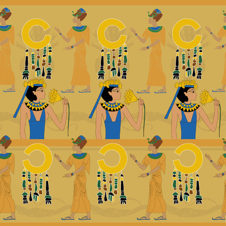 egyptian woman: Woman with flower on yellow Egyptian pattern Illustration