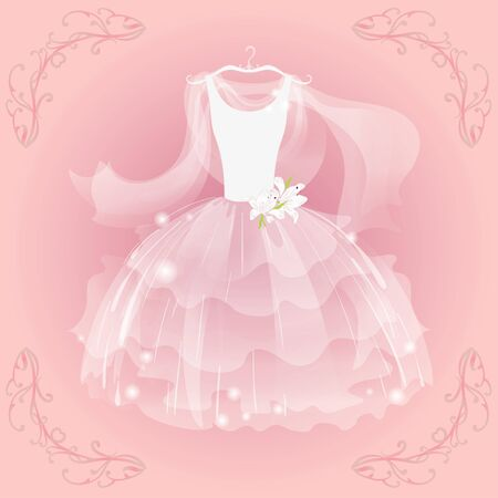 pink dress: Wedding  airy dress and  airy  shawl Illustration