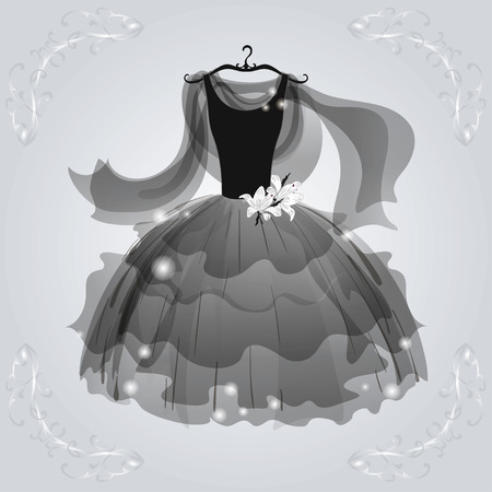 Black  airy dress for dancing party