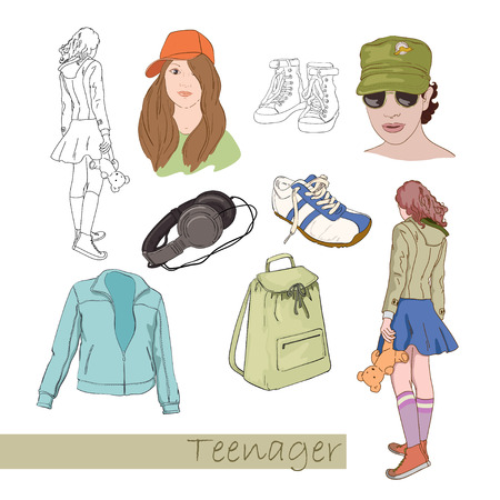 Drawings for  teenager Vector