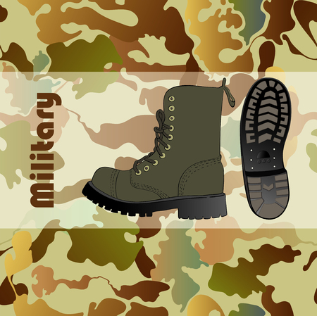 foot gear: Military shoe and camouflage seamless