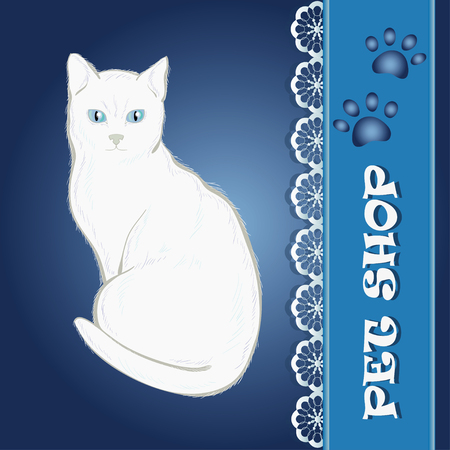 White cat on blue tag Vector