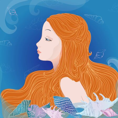 nude outdoors: Mermaid and blue sea Illustration