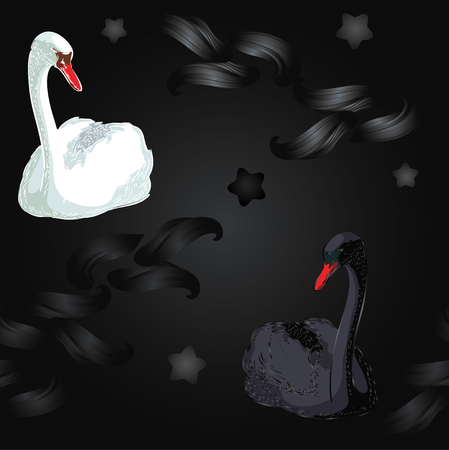 Deep seamless with black and white  swan Vector