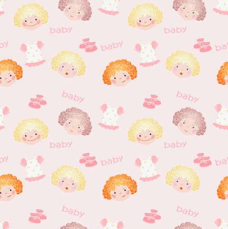 kleine meisjes: Roze naadloze voor kleine meisjes Stock Illustratie