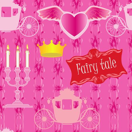 Seamless for fairy tale with heart Vector