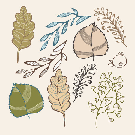 vegetate: Leaf on yellow background Illustration