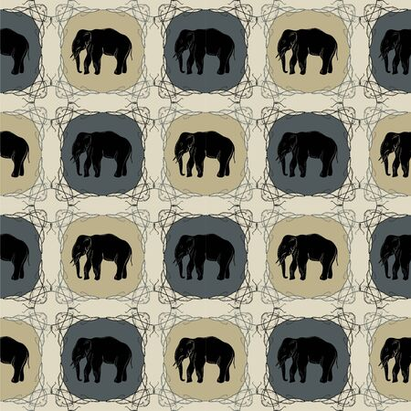 Elephant on  eastern pattern