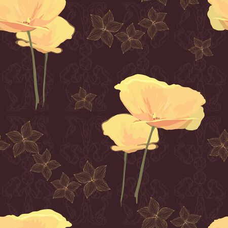 Yellow flower on deep brown background