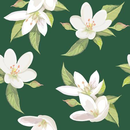 appletree: White flowers on green background