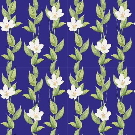 florescence: Floral pattern on deep blue background Illustration