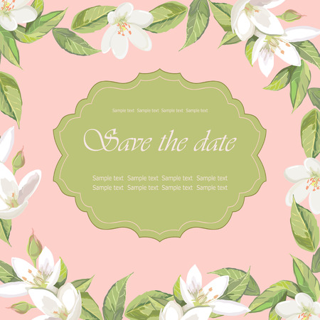Floral frame on pink background