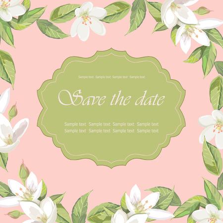 Floral frame on pink background