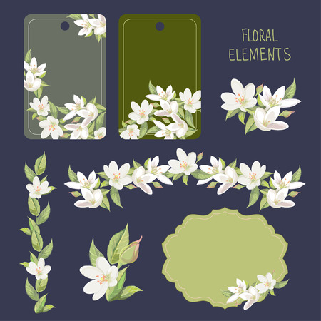 flower borders: Floral elements for card