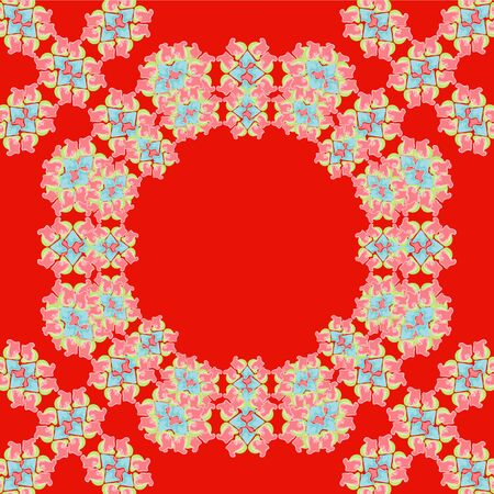 vermilion: Bright red pattern for pillows