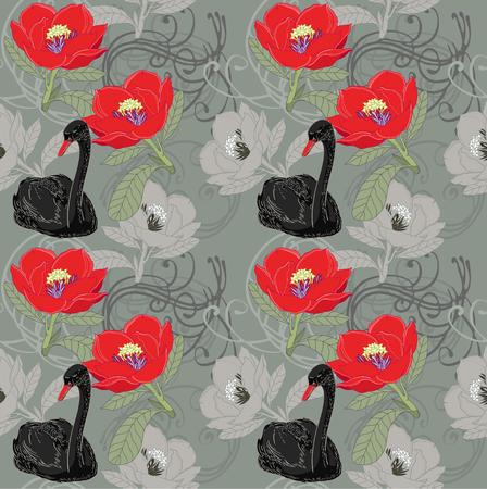 black swan: Black swan and red flowers on seamless