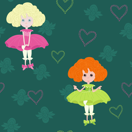 Little girls on green seamless