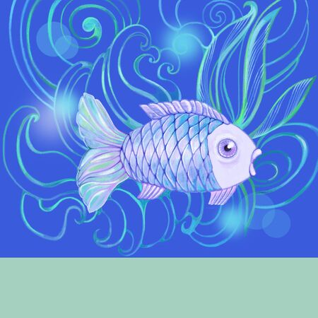 blue fish: Blue fish on the card