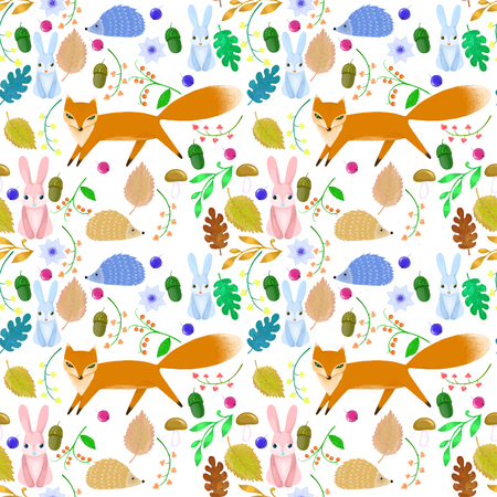 Fairy animals on pattern for baby Stock Photo