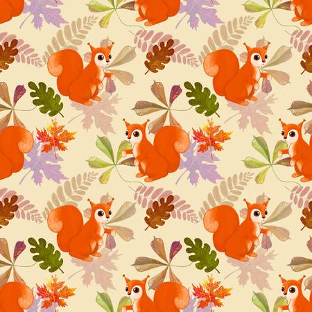 red squirrel: Red squirrel on pattern