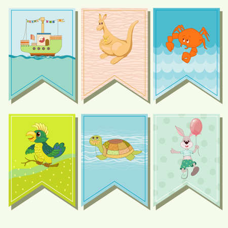 laughable: Merry small flags with animals