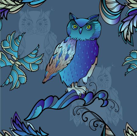 deep: Blue  owl on deep seamless
