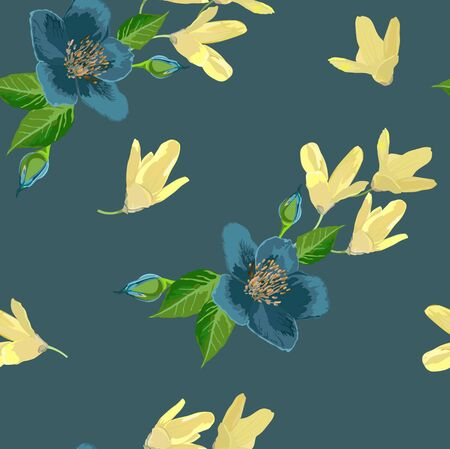 blue green background: Yellow and blue flowers on green background
