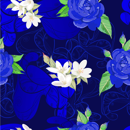 Deep blue pattern with roses