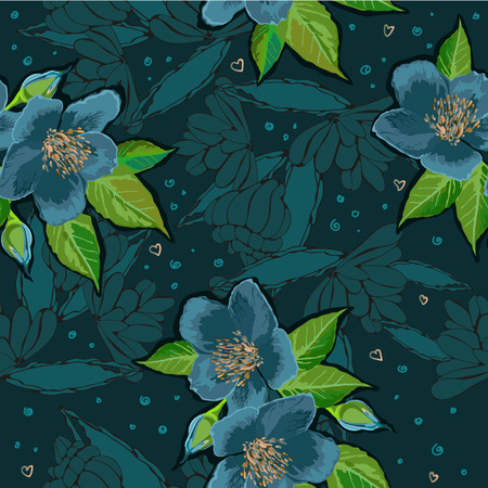 exotic: Exotic flowers on deep background Illustration