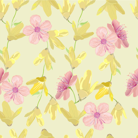 textured paper: Yellow and pink flowers on spring seamless