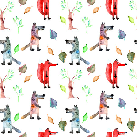 gray wolf: Red fox and gray wolf on seamless