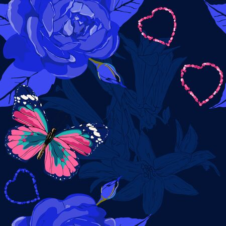 Deep blue pattern with  butterfly