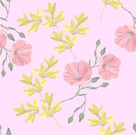 Pink floral background for textile