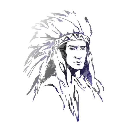 American indian con piume