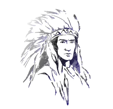 chief: American  indian with feathers
