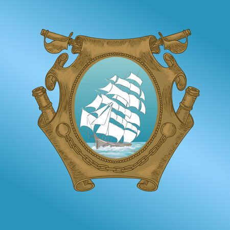 Old ship on emblem