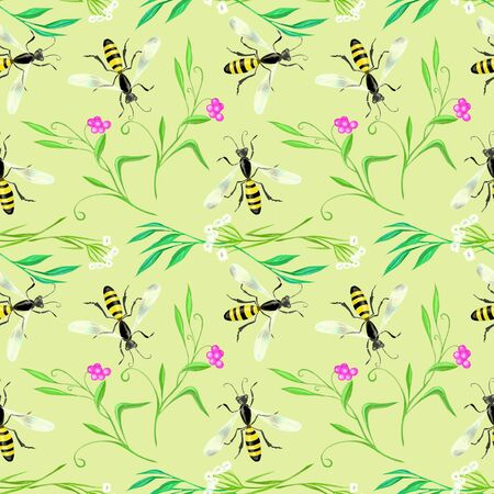 wasp: Green soft pattern with wasp Stock Photo