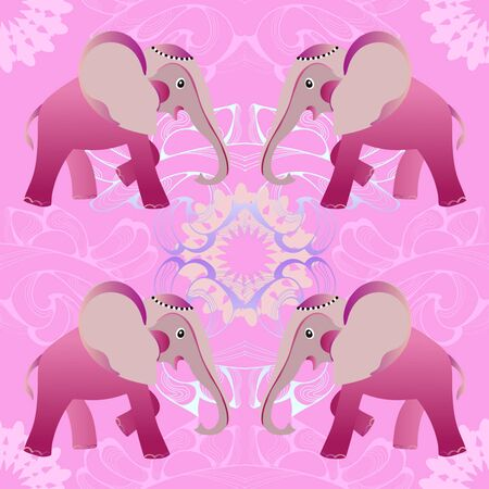 childs: Pink amusing elephant on  seamless for  childs textile