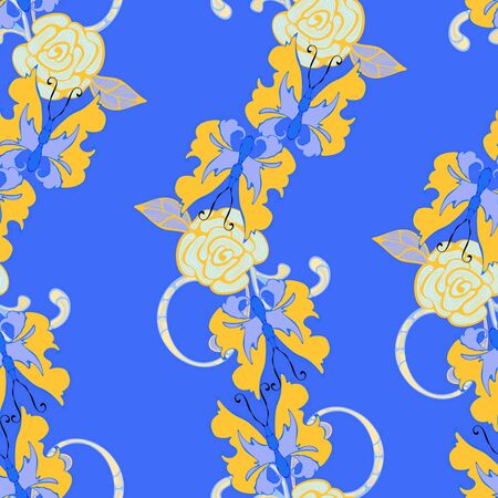 yellow butterfly: Yellow butterfly in blue seamless for print on silk