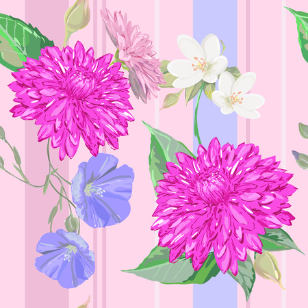 dahlia: Dahlia and other flowers in composition on pattern, use for textile Illustration
