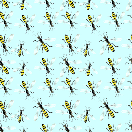 colourfull: Blue bright background with bee Stock Photo