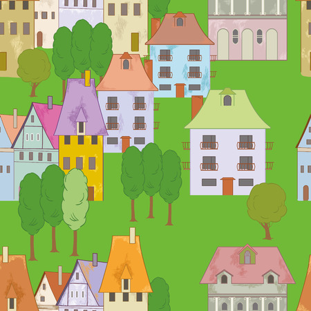 small town: Seamless with buildings in small town