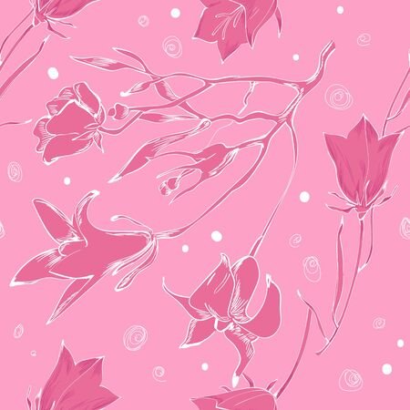 Pink monochrome pattern for textile Illustration