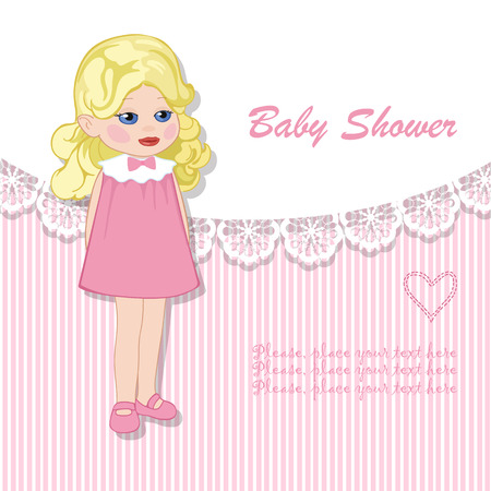 baby girl: Baby shower for blonde girl Illustration