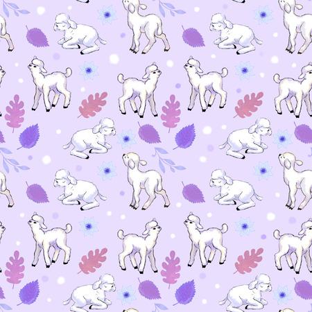 animalitos tiernos: patrón suave de la lila con los corderos