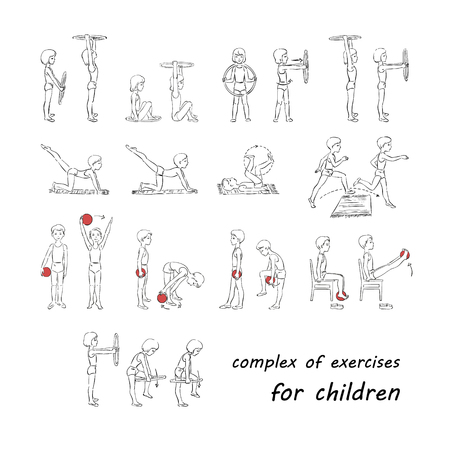 growth chart: Complex of exercises for children Illustration