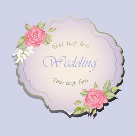 vignette: Frame with roses for wedding